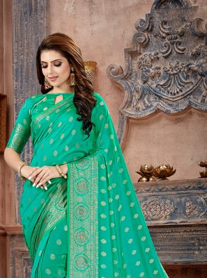 Sea Green Art Silk Stone Work Trendy Saree