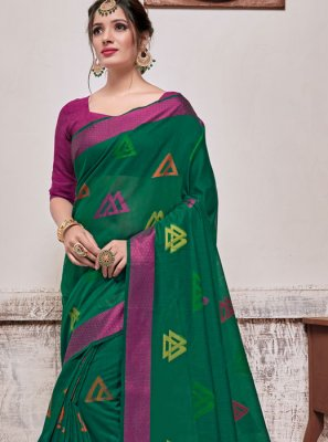 Sea Green Banarasi Silk Festival Traditional Saree