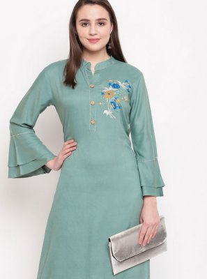 Sea Green Casual Designer Kurti