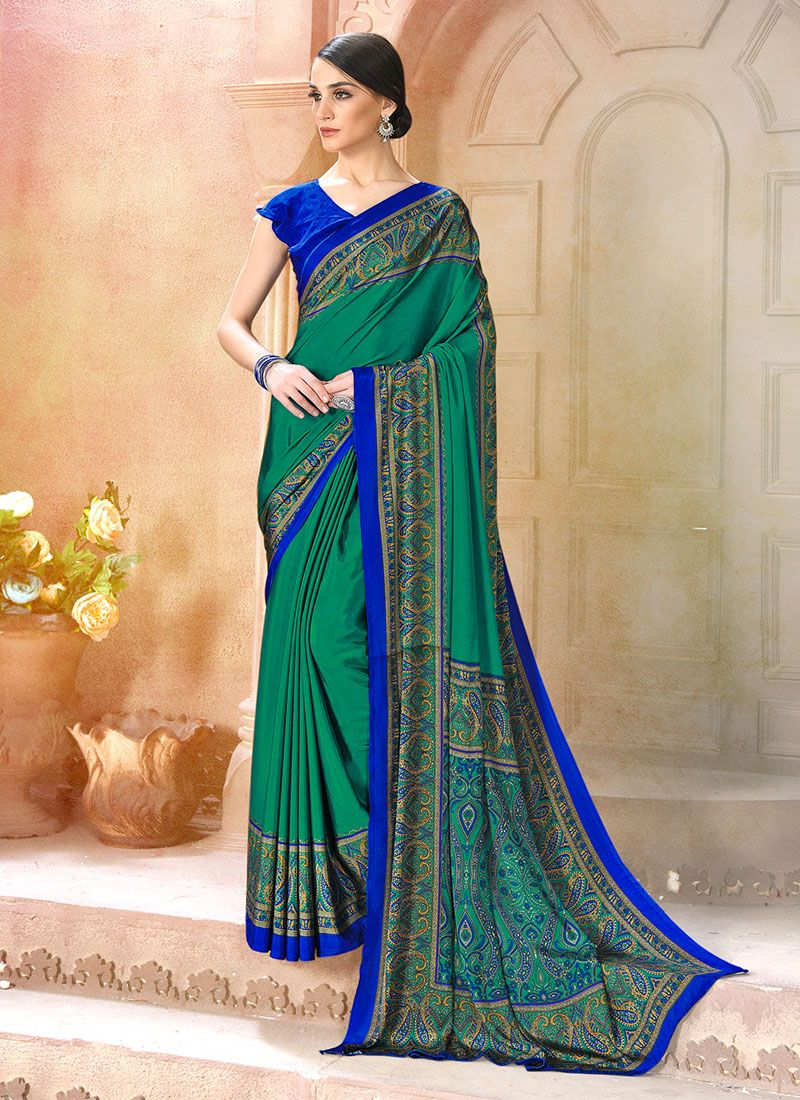 Sea Green Casual Faux Crepe Casual Saree