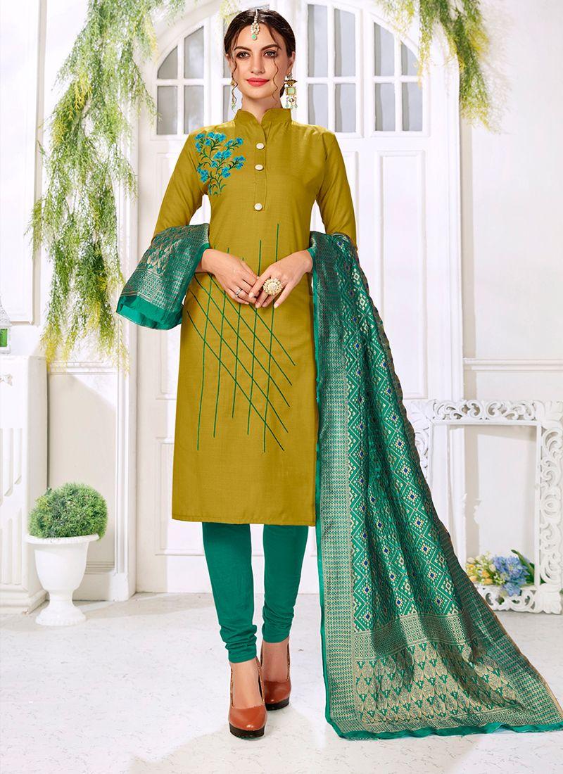 Sea Green Casual Trendy Churidar Salwar Suit