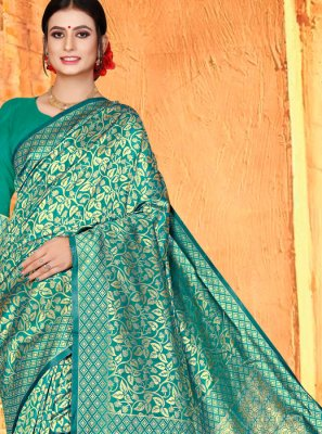 Sea Green Ceremonial Designer Traditional Saree