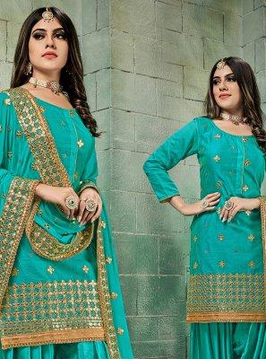Sea Green Chanderi Punjabi Suit