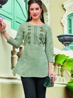 Sea Green Color Casual Kurti