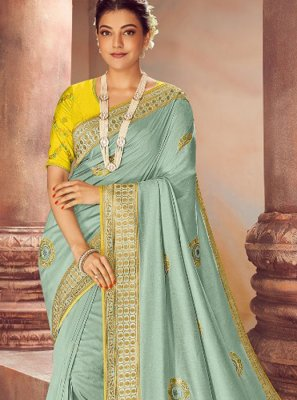 Sea Green Color Classic Designer Saree