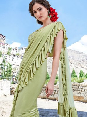 Sea Green Color Trendy Saree