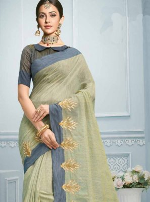 Sea Green Cotton Festival Casual Saree