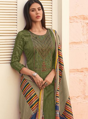 Sea Green Cotton Palazzo Salwar Suit