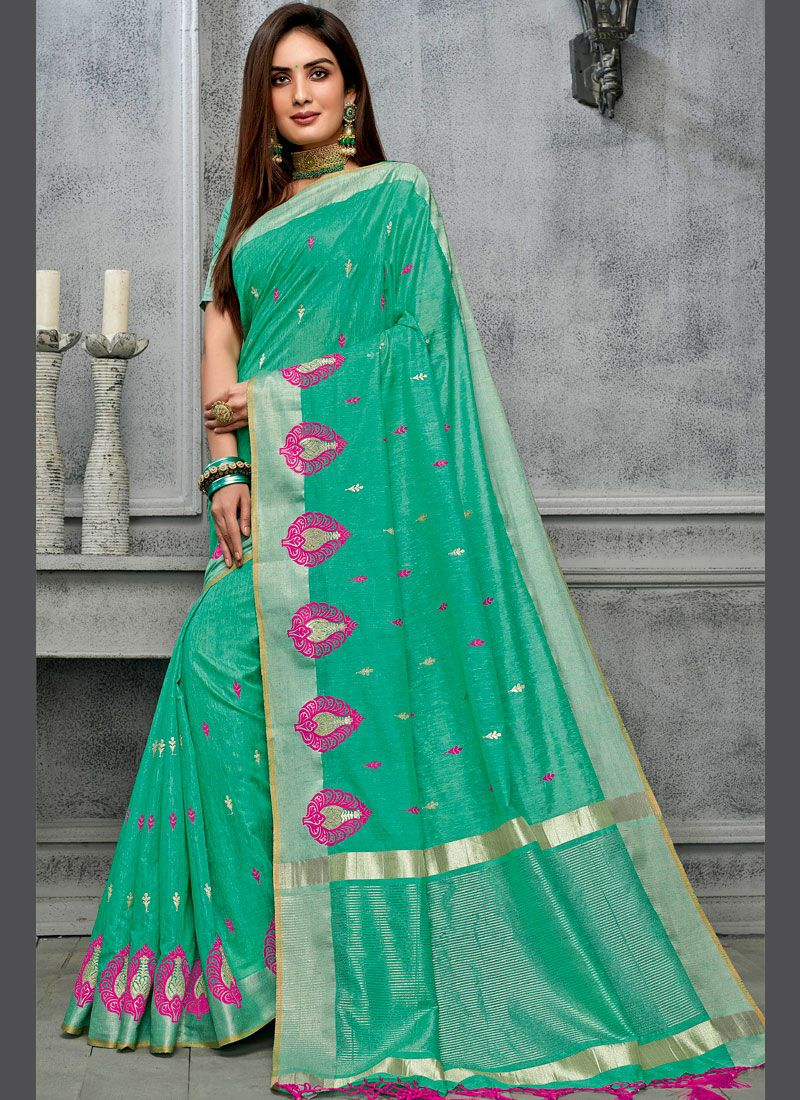 Sea Green Cotton Party Traditional Saree