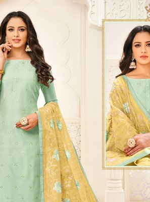 Sea Green Cotton Trendy Churidar Suit