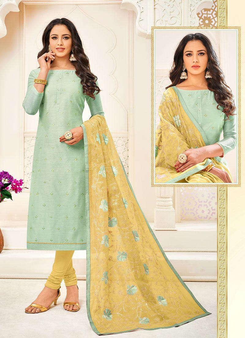Sea Green Cotton Trendy Churidar Suit