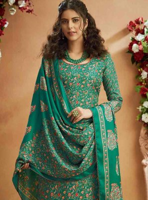 Sea Green Digital Print Palazzo Salwar Suit