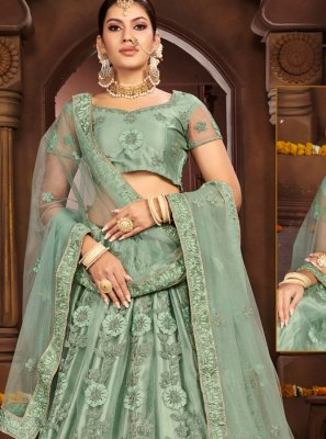 Sea Green Embroidered A Line Lehenga Choli