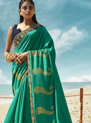 Sea Green Embroidered Art Silk Classic Saree