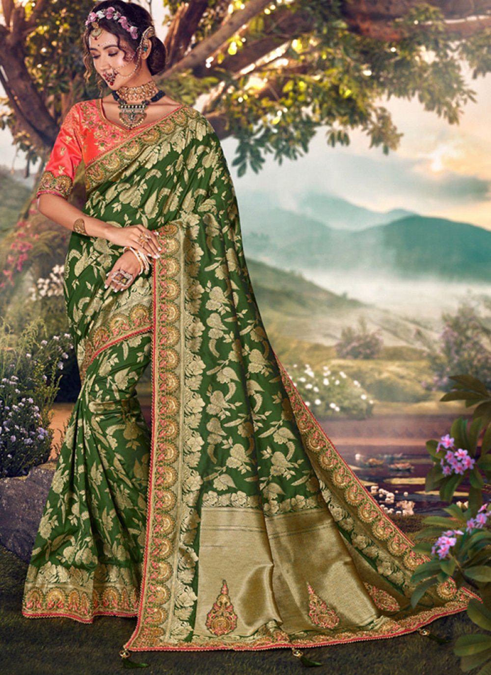 Sea Green Embroidered Banarasi Silk Traditional Saree