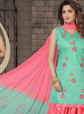 Sea Green Embroidered Chanderi Salwar Kameez