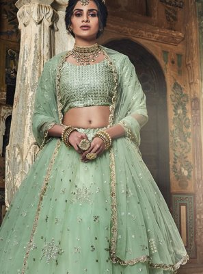 Sea Green Embroidered Designer Lehenga Choli