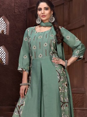 Sea Green Embroidered Designer Salwar Suit