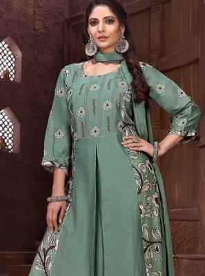 Sea Green Embroidered Designer Salwar Suit