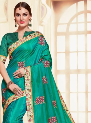 Sea Green Embroidered Designer Saree
