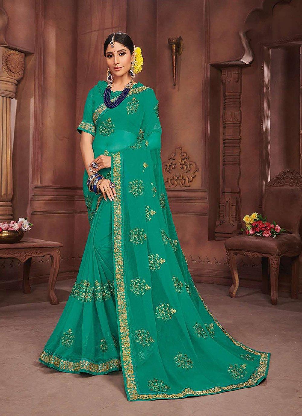 Sea Green Embroidered Faux Chiffon Classic Saree