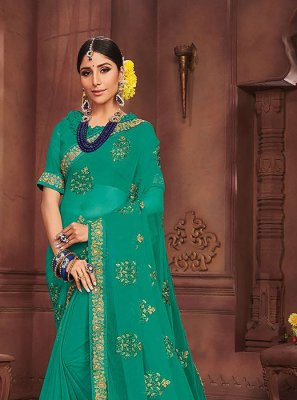 Sea Green Embroidered Faux Chiffon Classic Saree