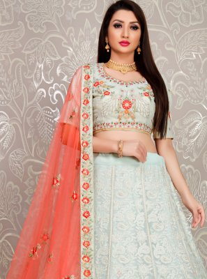 Sea Green Embroidered Georgette Designer Lehenga Choli