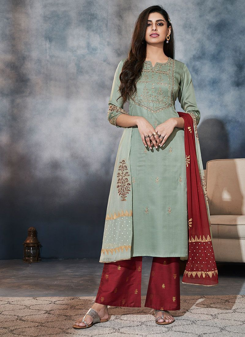 Sea Green Embroidered Palazzo Salwar Suit
