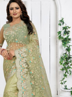 Sea Green Embroidered Party Classic Saree