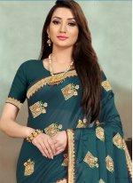 Sea Green Embroidered Satin Silk Designer Saree