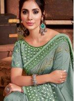 Sea Green Embroidered Silk Trendy Saree