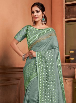 Sea Green Embroidered Silk Trendy Saree