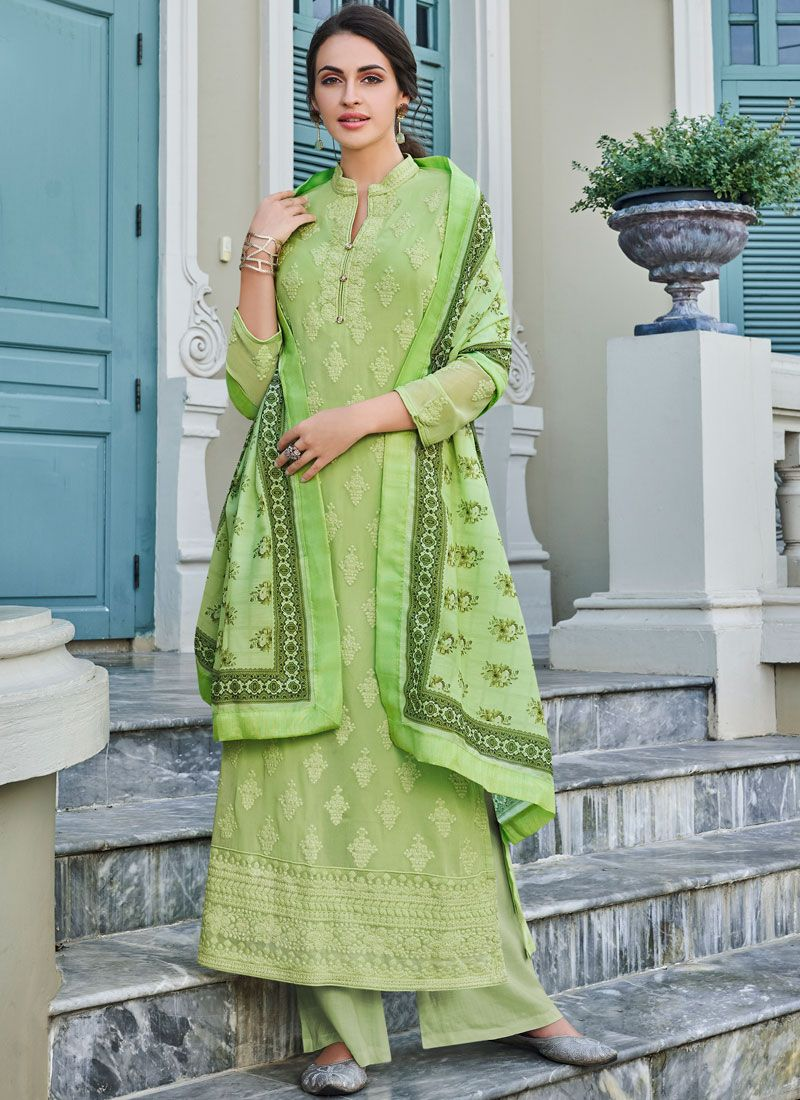 Sea Green Embroidered Trendy Palazzo Salwar Suit