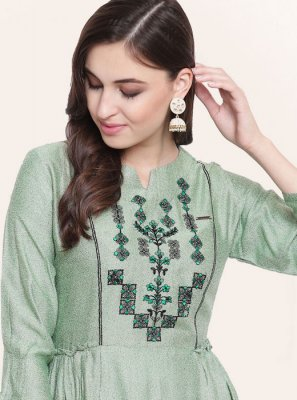 Sea Green Fancy Fabric Party Wear Kurti