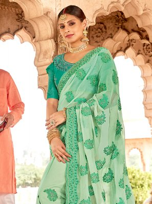 Sea Green Faux Chiffon Embroidered Classic Designer Saree