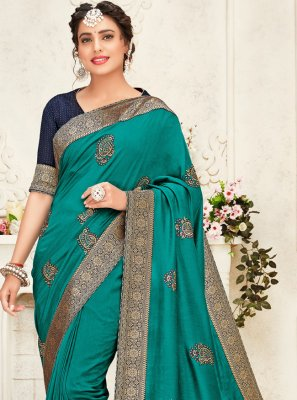 Sea Green Festival Designer Saree