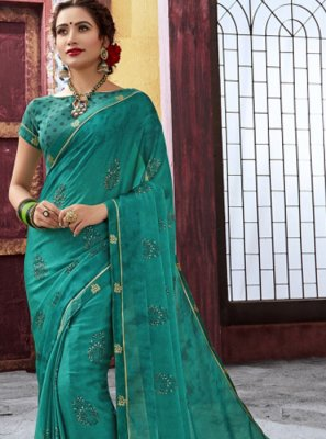 Sea Green Festival Faux Chiffon Trendy Saree