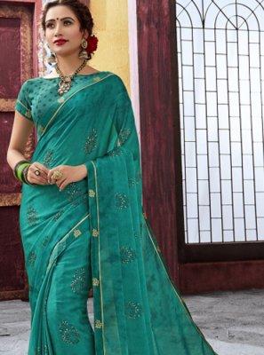 Sea Green Festival Faux Chiffon Trendy Saree