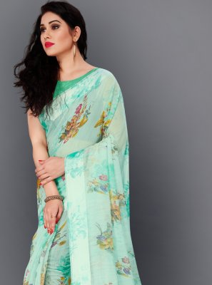 Sea Green Festival Trendy Saree