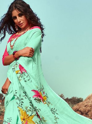 Sea Green Floral Print Linen Classic Saree