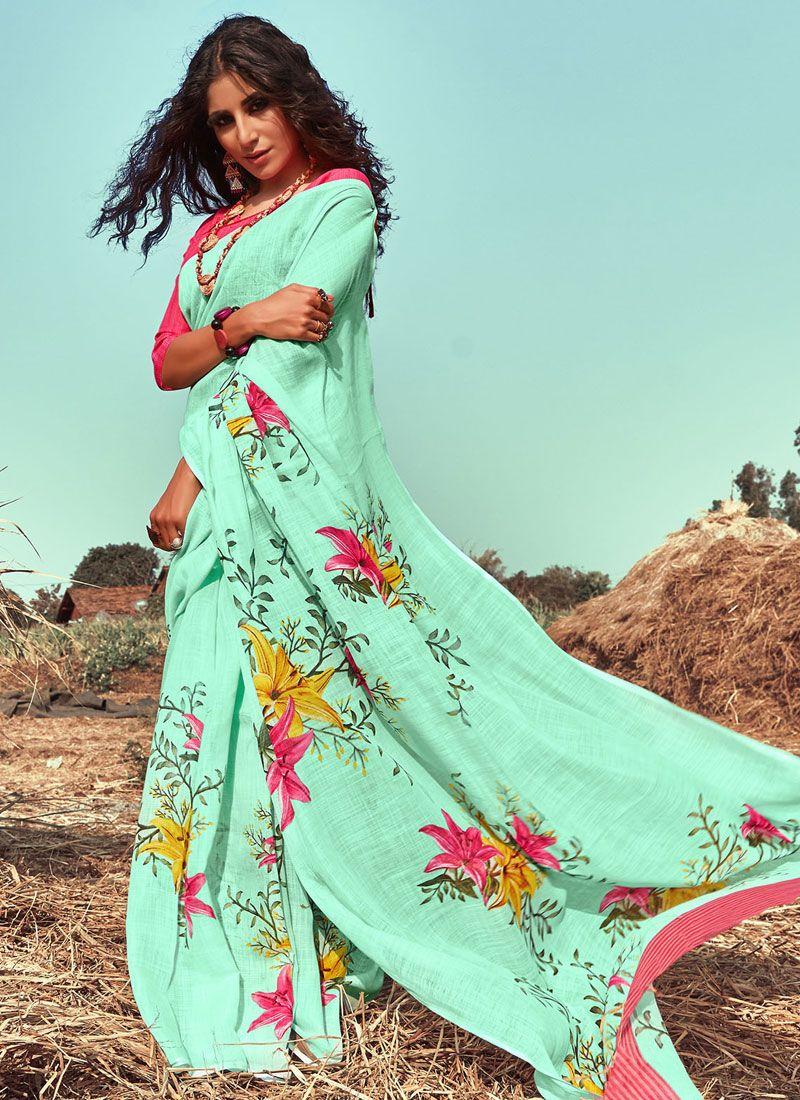 Sea Green Floral Print Linen Classic Saree