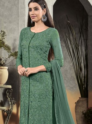Sea Green Georgette Designer Pakistani Salwar Suit