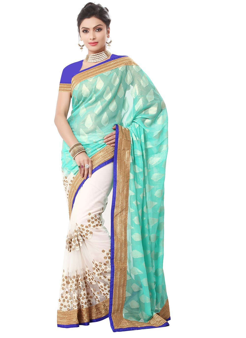 Sea Green Georgette Embroidered Designer Saree