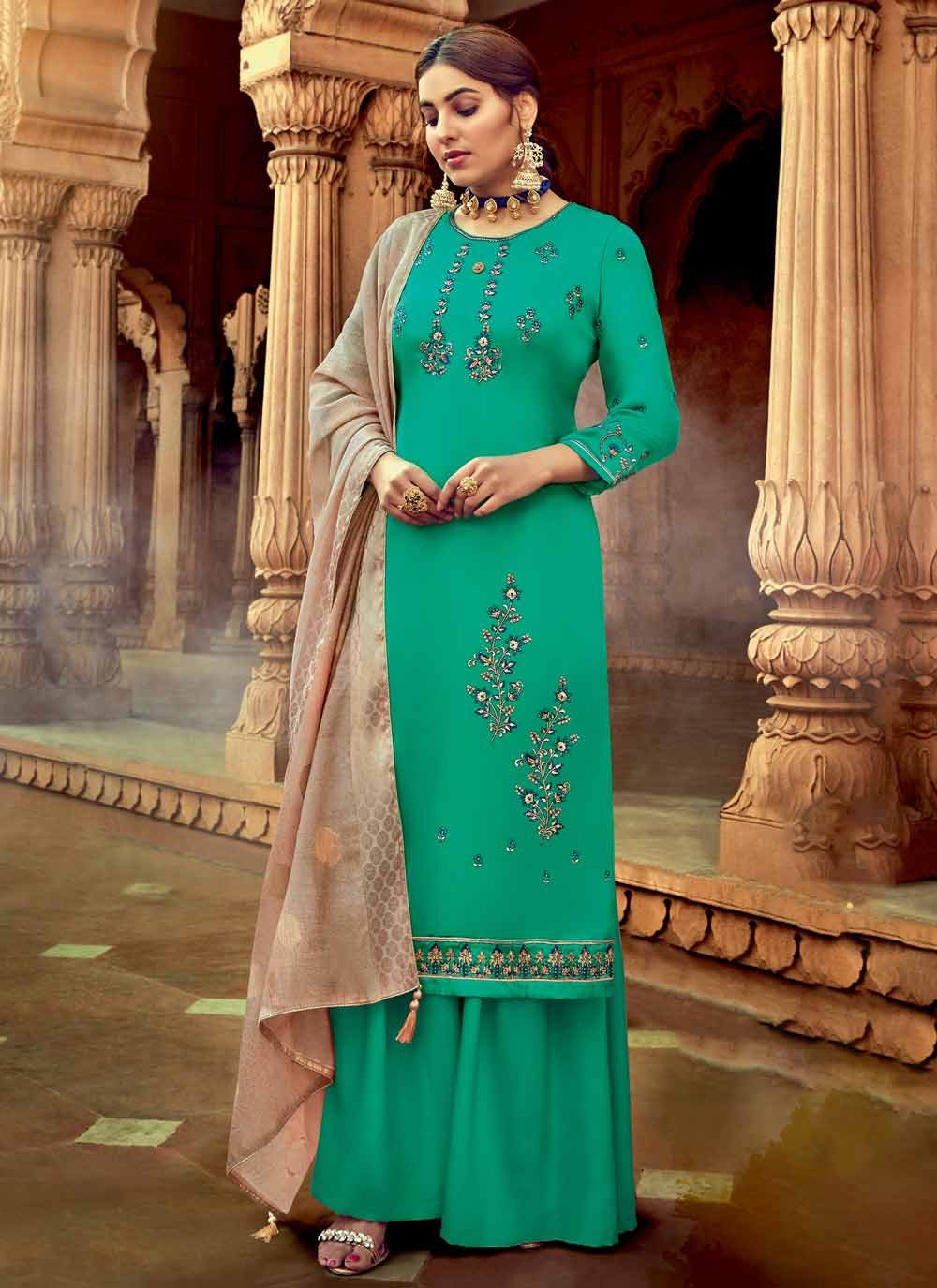 Sea Green Georgette Embroidered Trendy Salwar Suit