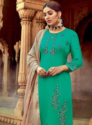 Sea Green Georgette Embroidered Trendy Salwar Suit