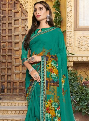 Sea Green Georgette Trendy Saree