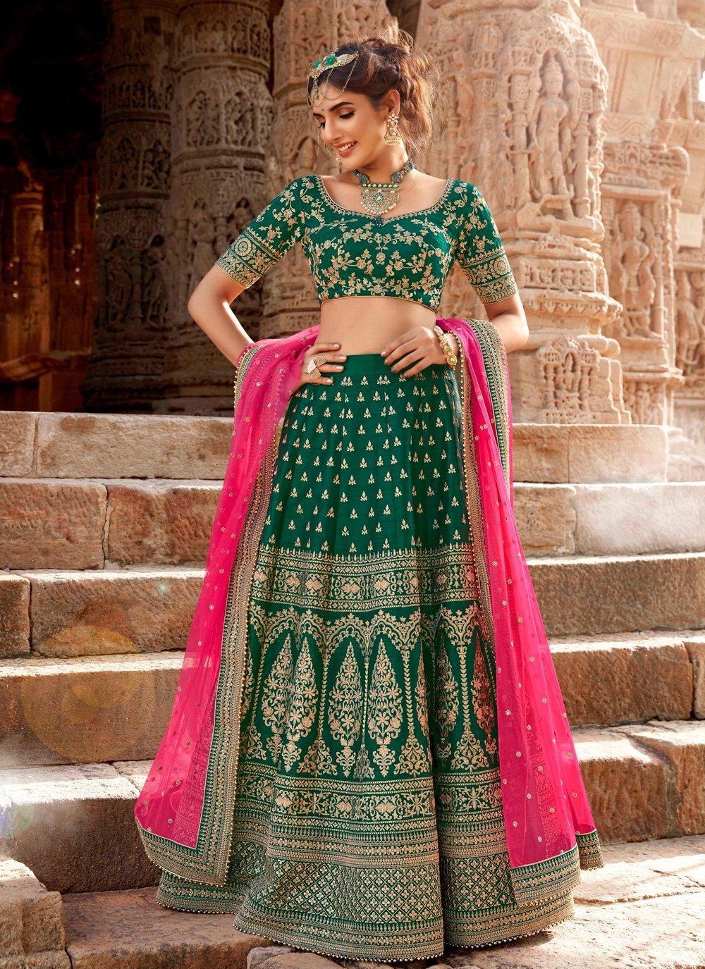Sea Green Handloom silk Embroidered Designer Lehenga Choli