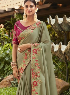 Sea Green Handwork Party Classic Saree