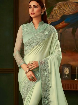 Sea Green Lace Silk Traditional Designer Saree