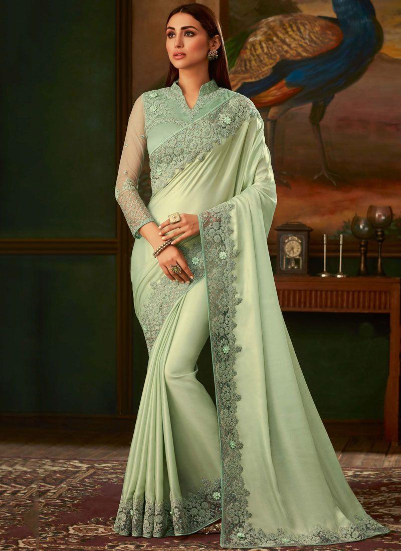 Sea Green Lace Silk Traditional Designer Saree